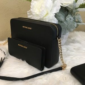 Michael Kors black Large crossbody bag & wallet